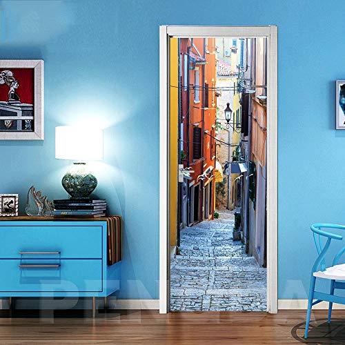 Fotobehang voor kleine steden, 77 x 200 cm, vinyl, zelfklevend, waterbestendig, 3D, voor woonkamer, kantoor, keuken 88x200cm