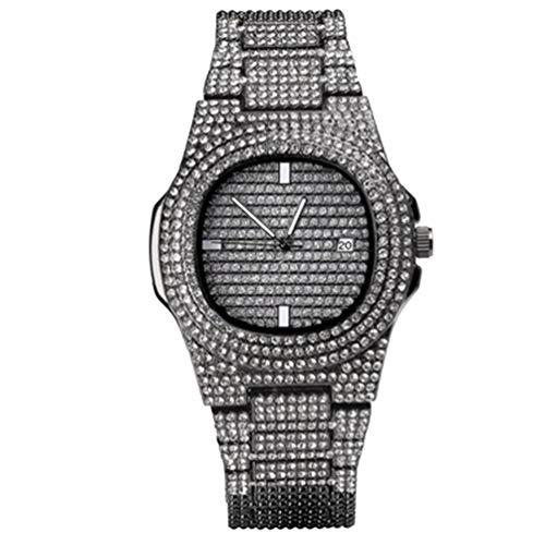 HEMOBLLO reloj de cristal de diamantes de imitación reloj de lujo reloj de pulsera de cuarzo analógico reloj de hipopótamo con pulsera de acero inoxidable (negro)