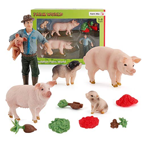 5 PCS Mini Farm Animal Figurines Figures Toys Sets with Pig Farm Boar Sow Piglet Farmer Figure Models Party Gift for Children