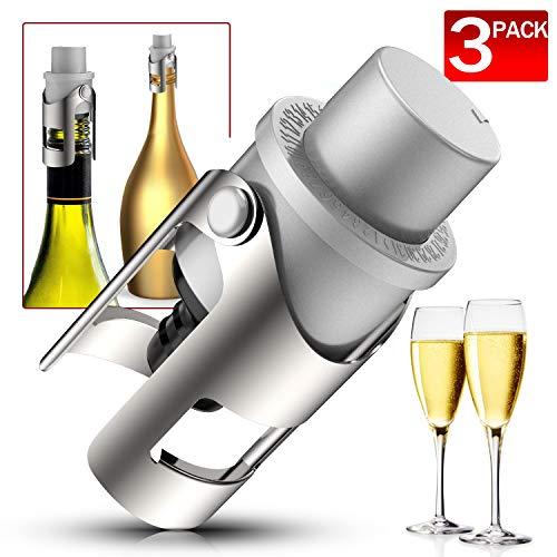 Champagnerflaschenverschluss, 3 Stück, Edelstahl, versiegelt, glitzernd, Prosecco Cava Weinflaschenversiegelung, Geschenk-Zubehör für Champagner, silber