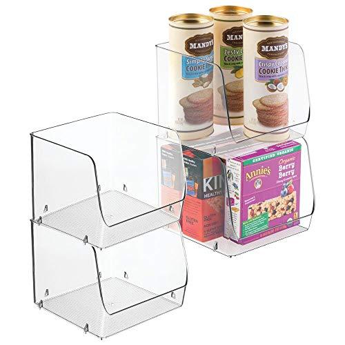 mDesign bac de rangement pour la cuisine (lot de 4) – rangement frigo en plastique idéal pour légumes, fruits, etc. – bac alimentaire empilable avec large ouverture sur le devant – transparent