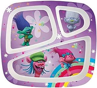 Zak Designs TROG-0010-B-AMZ Kids Divided Plates, Trolls Movie