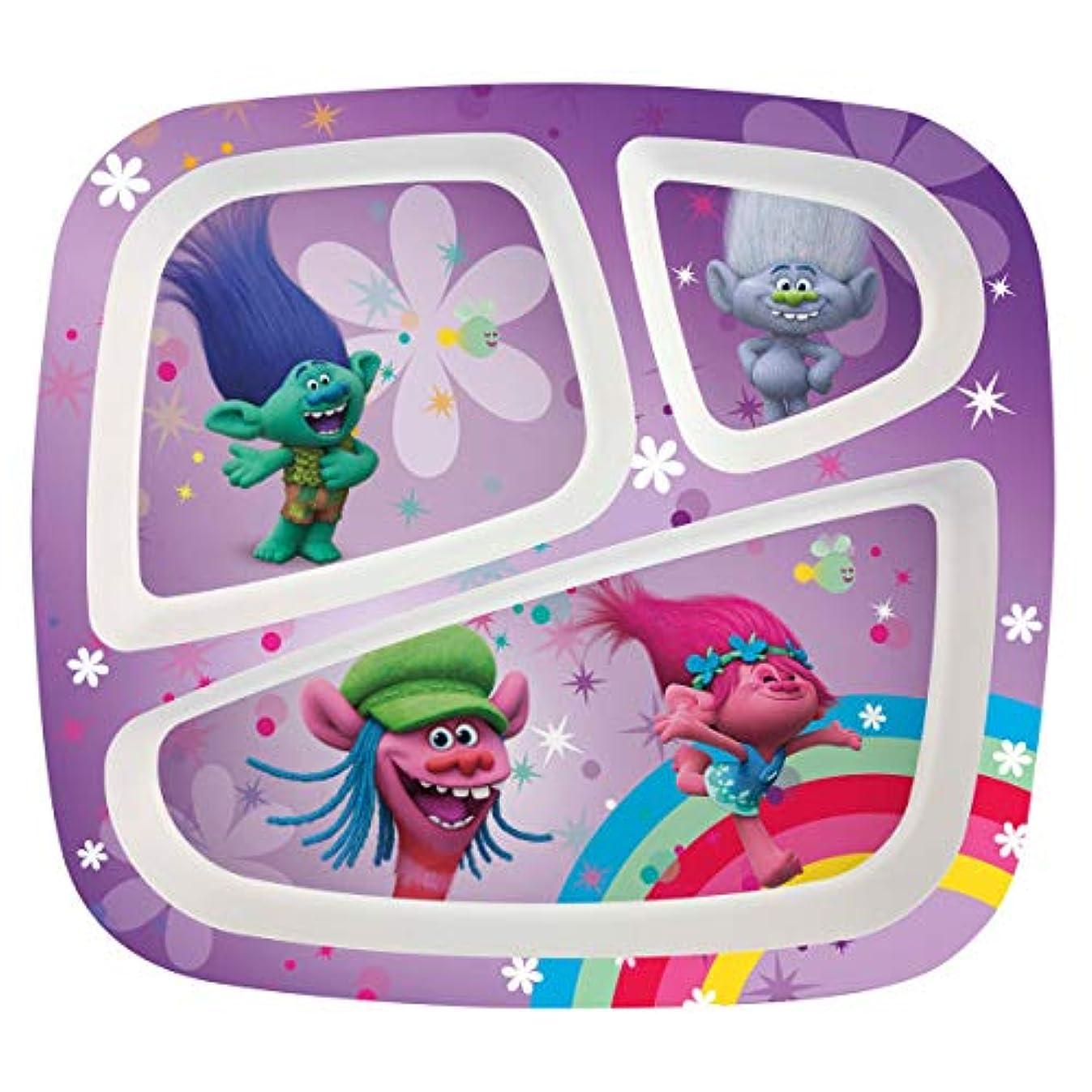 Zak Designs Trolls Movie 3-section Kids Plate, Poppy, Branch, Cooper & Guy Diamond