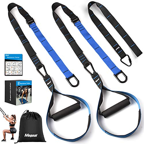 Resistance Bands Set with Handles, Megoal Workout Bands Resistance for Women Men, Fitness Resistance Straps Trainer Exercise Bands Bodyweight Training Kit for Full Body Home Gym Indoor Outdoor