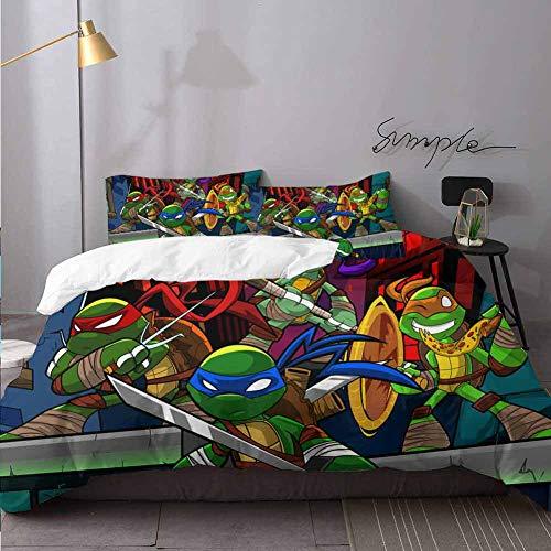 Kerst beddengoed tiener Mutant Ninja Turtles Comforter Cover met ritssluiting en 2 kussen Shams beddengoed 3 stuk dekbedovertrek Set Twin