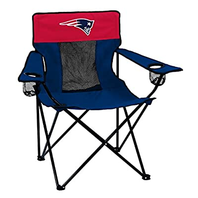 Logo Brands NFL New England Patriots Folding Elite Chair with Mesh Back and Carry Bag , Navy, One Size
