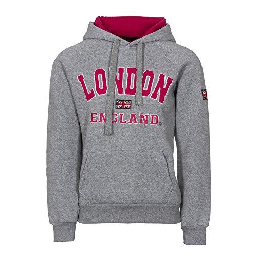 Damen-Kapuzenpullover, Motiv: London, England und Union Jack, hochwertig Gr. 34-36, grau / pink