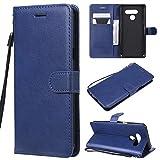 ViViKaya Handyhülle für LG Q60/K50,Schlanke Leder Brieftasche hülle Flip Folio Handytasche für LG Q60/K50 [Blau]