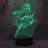Lámpara de ilusión 3D, regalo de Navidad, luz de noche de la mujer maravilla luz de noche multicolor regalo de vacaciones