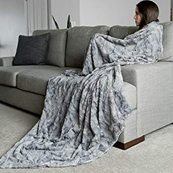 "Oversized Softest Warm Elegant Cozy Faux Fur Home Throw Blanket 60"" x 80"" by Graced Soft Luxuries, Marbled Gray"