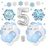 SPECOOL Frozen 5 Años Globos Decoración Cumpleaños Niña, Globo Fiesta de Globos Blancos Azules Confeti de Copos de Nieve para Fiesta de Cumpleaños Aniversario Graduación Centro Decoración de Fondo
