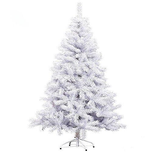 Hengda® 180CM LED Künstlicher Modischer Weiß Weihnachtsbaum Tannenbaum Kunstbaum Kusttanne mit Metallfuß Für Innen und Außen