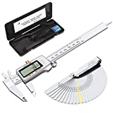eSynic 150mm/6Inch Digital Vernier Caliper with Fractions/Inch/Metric Conversion Electronic Vernier Caliper Stainless Steel
