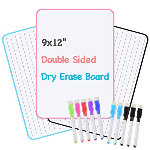 Dry Erase Board for Kids (Set of 3), Lined White Board for Kids Learning, Double Sided Portable...