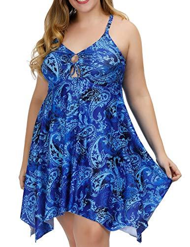 Hanna Nikole Women's One Piece Swimsuits Plus Size Swimwear Cover up Swimdress Blue 22W