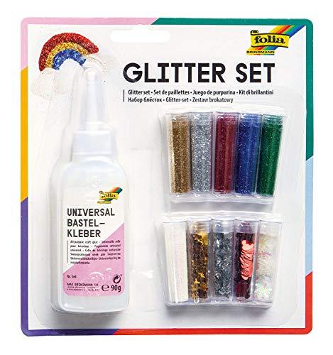 folia 579 - Glitter Set, bestehend aus Bastelkleber und 10 Dosen Glitterpulver und -streuteile, farbig sortiert - ideal zum Verzieren Ihrer Bastelarbeiten, Grußkarten, Scrapbooking, und vielem mehr