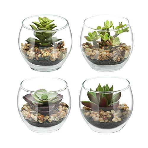 Ezeyu Set von 4 kleinen künstlichen Sukkulenten mit kleinen runden Glas-Töpfen, künstliche Sukkulenten-Übertopf, Dekoration, moderne Tischplatte, grünes Kunststoff-Terrarium 4-teiliges Set