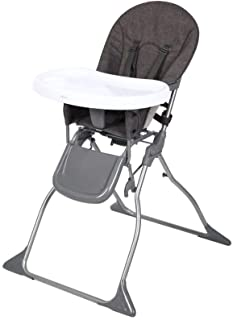 Diroan Fold High Chair, Adjustable Dining Booster Footrest Easy to Clean and Pack Away with Removable Tray and Safety Belt for Baby/Infants/Toddlers (Grey)