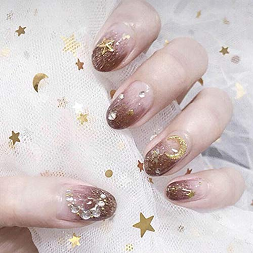 Fashband False Nails Gradient Oval Shaped Star and Month Bridal Wedding...