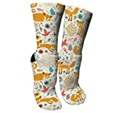 Women's Cute Fox Cotton Moisture Wicking Cushion Athletic Crew Socks
