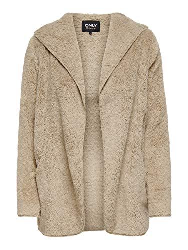 ONLY Damen ONLNEWCONTACT Hooded Sherpa Coat OTW Jacke, Humus, S