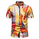 Playa Shirt Hombre Verano Ajuste Regular Moderno Hombre Cuello Alto Shirt Moda Estampado Deportiva Camisa Botón Placket Hawaii Camisa Vacaciones Casuales Hombre Correr Shirt K-011 L