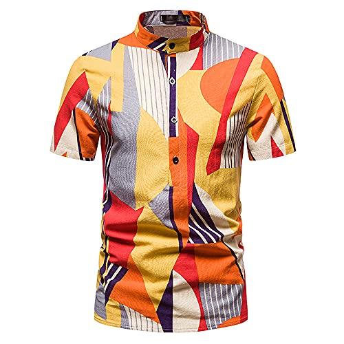 Shirt Uomo Slim Fit Stampa Estiva Uomo A Maniche Corte Urbano Moderno Vacanza Viaggio All'Aperto Camicie Uomo per Il Tempo Libero Stretch Casual Uomo Tops K-011 L
