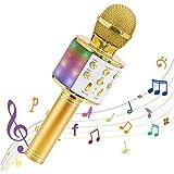 WWSUNNY Micrófono inalámbrico Bluetooth Karaoke portátiles Altavoz Máquina de Karaoke con Luces LED Que Bailan, Reproductor de KTV para el hogar Dispositivos compatibles para Fiestas/Canto de niños