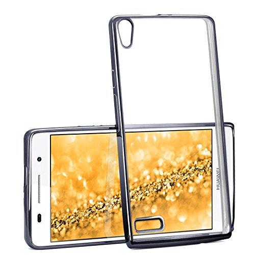 moex Transparente Silikonhülle im Chrome-Style kompatibel mit Huawei P6 | Flexibler Schutz mit Hochglanz Metallic Rahmen, Anthrazit