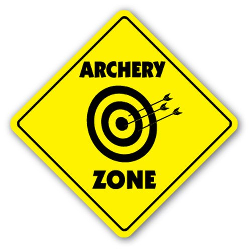 [SignJoker] ARCHERY ZONE Sign caution xing bow arrow target gift Wall Plaque Decoration