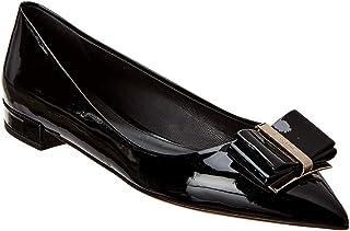 SALVATORE FERRAGAMO Zeri Patent Ballet Flat, 9 C, Black