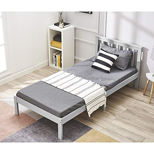Wood Single bed, Panana Wooden Bed Frame with headboard, made of Solid Wood, 90x190cm (Gray)