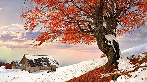 Puzzle de 500 piezas, rompecabezas para niños, adultos, árbol grande rojo, paisaje en la nieve, decoración especial para el hogar