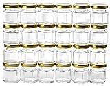 Gojars Hexagon Glass Jars 1.5oz Premium Food-grade. Mini Jars With Lids For Gifts, Wedding Favors, Honey, Jams And More. (24, 1.5oz)