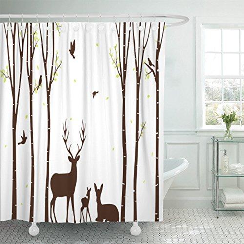 Emvency Duschvorhang aus Polyester, wasserdicht, mit Haken, Polyester-Mischgewebe, reh / hirsch, 72