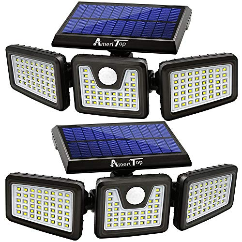 Solar Lights Outdoor AmeriTop 128 LED 800LM Wireless LED Solar Motion Sensor Lights Outdoor 3 Adjustable Heads 270° Wide Angle Illumination IP65 Waterproof Security LED Flood Light Warm White