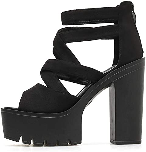 YAN damen es High Heel Sandals Spring Summer Suede Peep Toe Ladies Sandals Fashion Super High Heels Platform schuhe Party Evening,schwarz,39