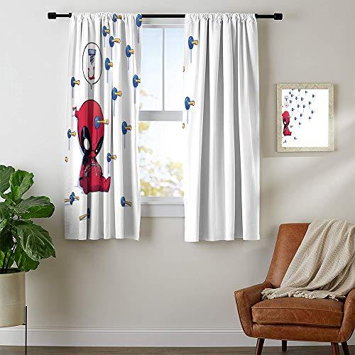 Cortina opaca con aislamiento térmico Vengadores Deadpool, cortina opaca para ventana, mantiene caliente 42 x 72, lavable a máquina.