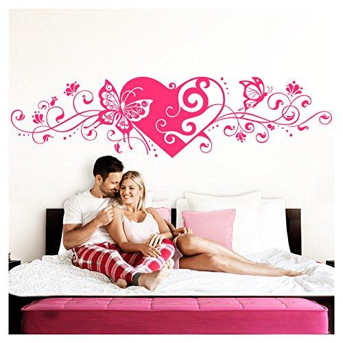 Grandora Wandtattoo Blumenranke Herz selbstklebend I pink 150 x 38 cm I Schlafzimmer Liebe Love Schmetterlinge Wandtatoo Wandaufkleber Wandsticker W642