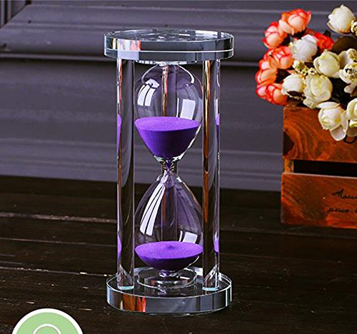 MINGZE Sablier cristal transparent Sablier Horloge Artisanat Verre Décoration, 15 Minutes / 30 Minutes / 60 Minutes (Violet, 15 Minutes)