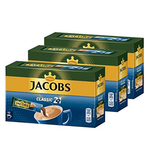 Jacobs 2in1 löslicher Kaffee, Instantkaffee, 3er Pack, 3 x 10 Becherportionen