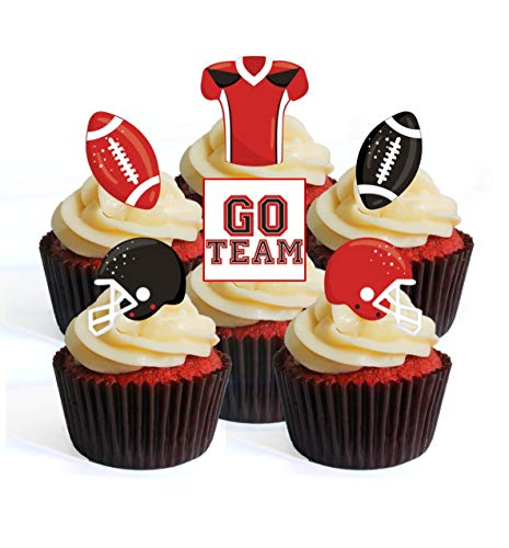 Superbowl NFL GFL Ballon de football Noir/rouge/noir & rouge Theme #1 Edible Cupcake Toppers – Stand Up Wafer Decorations, Packung mit 24