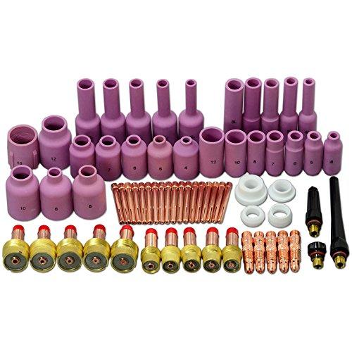 67 piezas TIG Lente de gas Tapa trasera Cuerpo de pinza Tamaño clasificado Equipo Fit TIG soldadura antorcha SR WP17 18 26