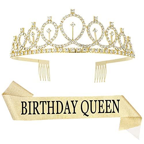 ISIYINER Cumpleaños Corona, Cristal Tiara Corona de Cumpleaños y Faja de Cumpleaños...