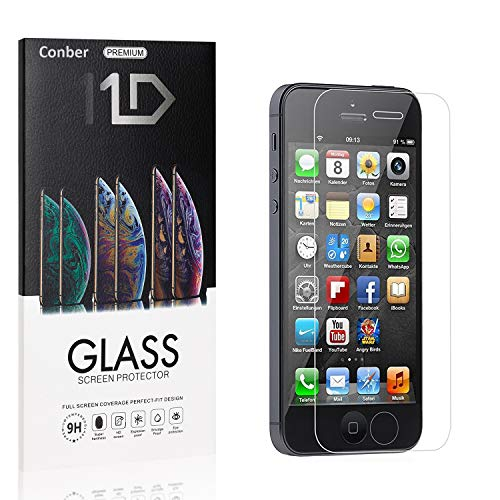 [4 Stück] Conber Panzerglas Schutzfolie für iPhone SE/iPhone 5 / iPhone 5s / iPhone 5C, [9H Härte][Anti-Kratzen] Panzerglasfolie Displayschutz für iPhone SE/iPhone 5 / iPhone 5s / iPhone 5C