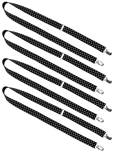Resinta 4 Pieces Kids Mitten Clips Fully Adjustable Gloves Mitten Clips, 24-48 Inches (Black with white dot)