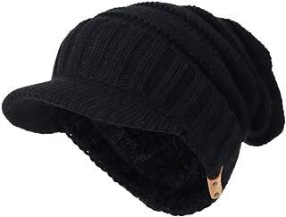 Mens Visor Beanie Knit Hat Winter Warm Thick Fleece Lined Newsboy Cap B5042