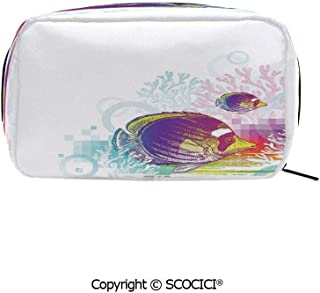 Travel Cosmetic Bag Portable Makeup Pouch Colorful Squids Surrounded by Algae Swimming in Ocean Pixel Featured Exotic Sea makeup clutch for Girls Ladies Women