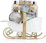 Coffret de Bain & Douche pour Femme, Body&Earth 6 PCS Coffret Cadeau au Parfum de Jasmin et de Miel, Parfait Cadeau pour l'Anniversaire et le Noël