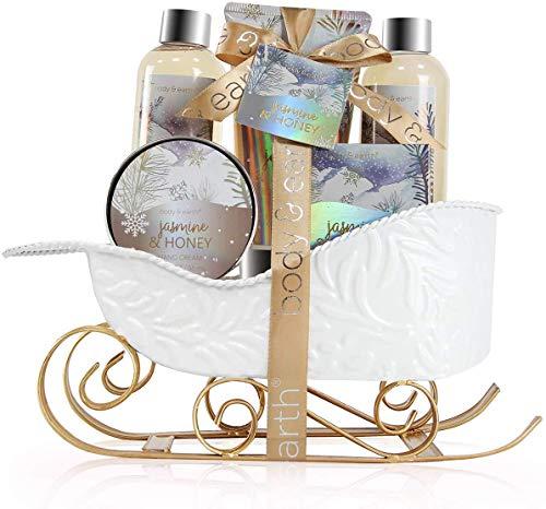 Geschenkset Frauen - Body & Earth Jasmin&Honig Badesets mit Schaumbad, Duschgel, Bodylotion und Handcreme. geburtstagsgeschenk für frauen, körperpflege damen Bad Set Frauen